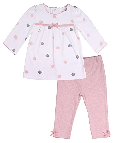 Asher and Olivia Baby Girls' Clothing Set Polka Dot Long-Sleeve Tunic and Legging Size 12-18Month