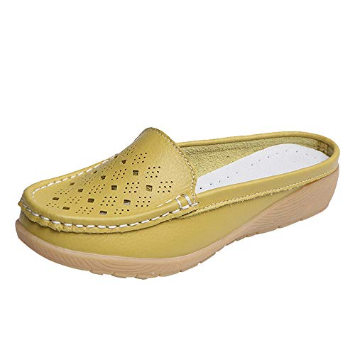 ▶HebeTop◄ Women Loafers Flats Slip On, Easy Slide Mule Moccasins Buckle Penny Slip-On Backless Loafer Shoes Green