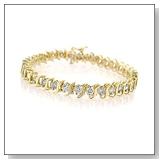 14K Yellow Gold Diamond S Link Tennis Bracelet