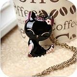 JA303 Black Pink & Purple Cat Necklace, Cute Adorable Fashion Necklace Jewelry