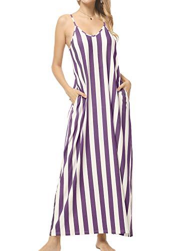 - Women Plus Size Loose Flowy Striped Pockets Long Maxi Dress Sundress Purple XL