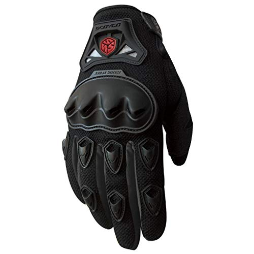 AMCER Motorcycle Riding Gloves with Hard Knuckle Full Finger Protective for Mountain Bike Scooter Black Medium