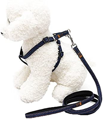 Omkuwl Denim Dog Arnés y correa Set Thoracodorsal Traction Rope ...