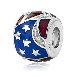 Amazon Com Sterling Silver Usa Flag Charm With Enamel