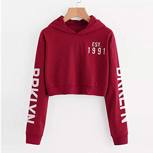 Morwind Tops Sleeve Blouse Sweatshirt Long Pullover Womens Red Letters Hoodie vawvrB
