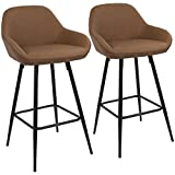 Clubhouse Contemporary 26'' Counter Stool with Black Frame and Brown Vintage PU Leather by LumiSource - Set of 2