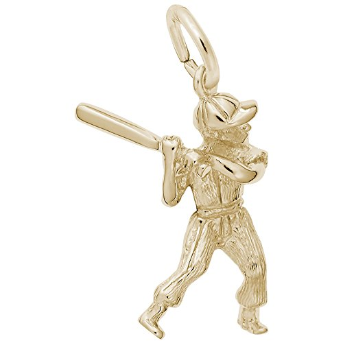Gold Plated Baseball Player Charm, Charms for Bracelets and Necklaces (Gold Charm Plated Player)