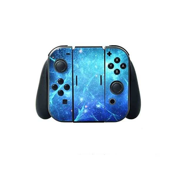 eXtremeRate Full Set Faceplate Skin Decal Stickers for Nintendo Switch/NS with 2Pcs Screen Protector (Console & Joy-con & Dock & Grip) (Blue Galaxy) 4