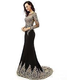 King\'s Love Women\'s Rhinestone Long Sleeve Mermaid Evening Dress Black US8