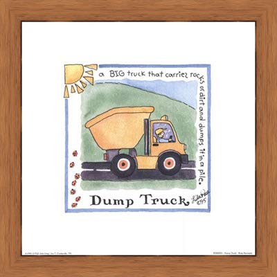 Poster Palooza Framed Dump Truck- 8x8 Inches - Art Print (Honey Pecan Frame)