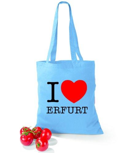 Artdiktat Baumwolltasche I love Erfurt Surf Blue