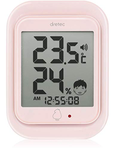 드레텍 dretec(dretec) 온도계 핑크 8.5×11.5×2.6cm 루《모》 디지탈온 습도계
