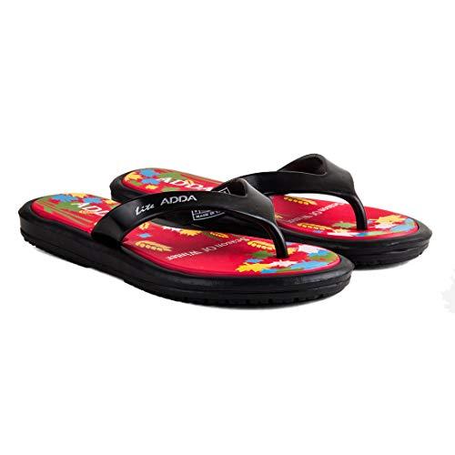 ADDA Women's Black & Red Flip-Flops – 4 UK