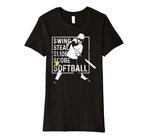 Womens Girls Fastpitch Softball Shirt Swing Steal Slide Score Tee Large Black