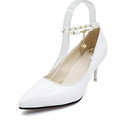 BalaMasa Womens Beaded Metal Buckles Spikes Stilettos Urethane Pumps Shoes White D7mysz