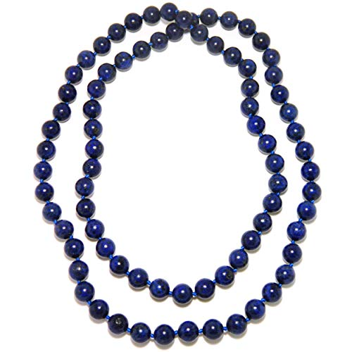 - Pearlz Ocean Lapis Lazuli Endless Knotted Necklace