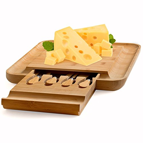 Bamboo Cheese Board with Cutlery Set, Wood Charcuterie Platter and Serving Meat Board with Slide-Out Drawer with 4 Stainless Steel Knife and Server Set - Perfect Gift Idea. By Bambusi by Bambüsi (Image #7)