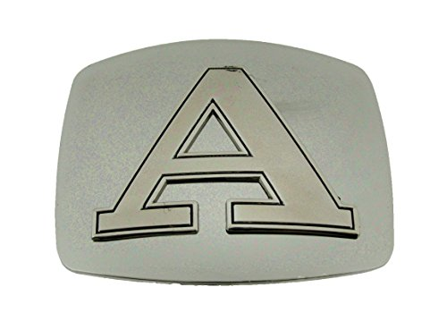 (Initial Belt Buckle Silver Plain Metal Monogram American Alphabet New Symbol Men (Initial Letter A))