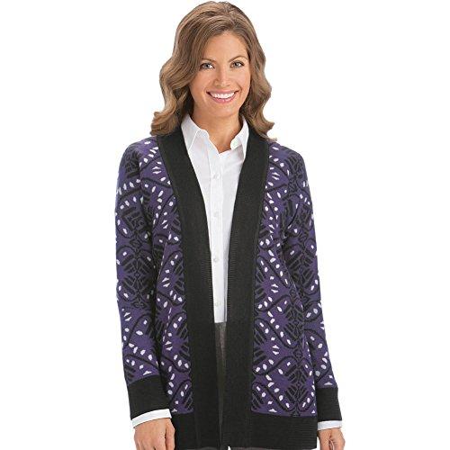 Jacquard Open Front Cardigan, Purple, XX-Large