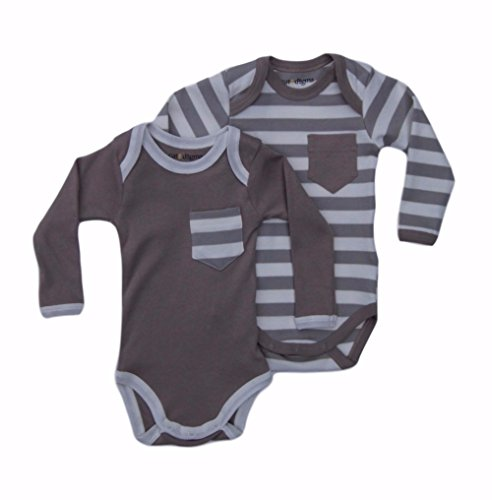 [Cat & Dogma - Certified Organic Infant/Baby Clothes - Moon/Natural - Long Sleeves Bodysuit 2 Pack (3-6] (Cat Makeup Halloween)