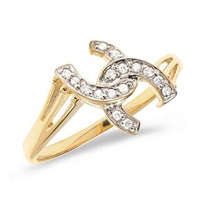 0.10 Carat ctw 10k Gold Round White Diamond Double Horseshoe U Shaped Lucky Good Luck Fashion Ring Band