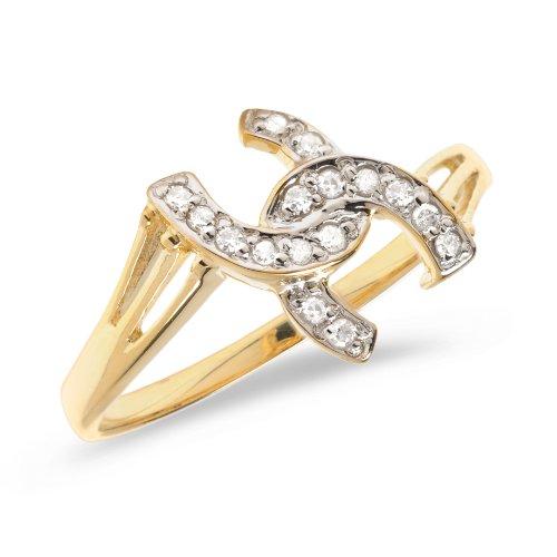 14K Yellow Gold Diamond Horseshoe Ring (Size 8) -