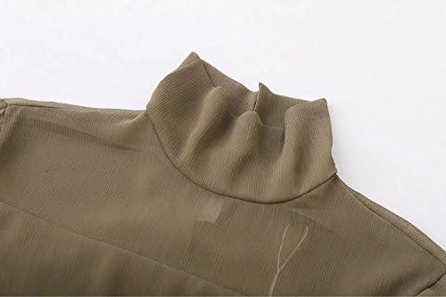 Enlishop Women Sweet Green Flare Half Sleeve Tiered Ruffle Chiffon Mesh Dress