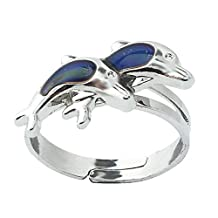 2pcs Opening Adjustable Double Dolphin Ring Thermo Sensitive Mood Color Change