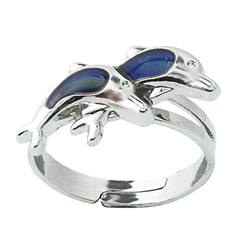 styleinside® 2pcs Opening Adjustable Double Dolphin Ring Thermo Sensitive Mood Color Change