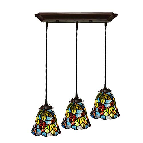 - Tiffany Style 7 Inch Chandelier, Grape Decoration Handmade Glass Lampshade Ceiling Lamp Fitting, Pendant Light for Dining Room, E27/E26 X 3