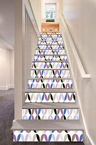 Contrast Diagonal Panel - anselc05ls Geometric Circle Decor 3D Stair Riser Stickers Removable Wall Murals Stickers,New Age Style Dynamic Contrast Bands Diagonals Fractals Art Print Image,for Home Decor 39.3