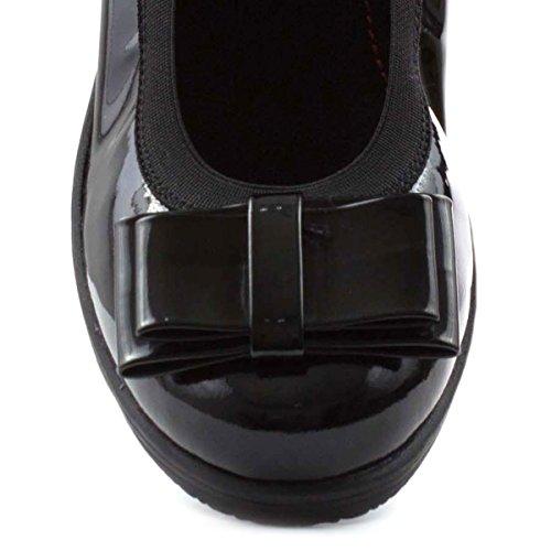 Heavenly Bow Black Womens Feet Schuh Leather Schwarz Court pvrpq
