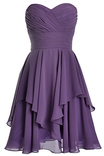 MACloth Women Short Wedding Party Bridesmaid Dress Strapless Tiered Cocktail Violett v5mfY8f