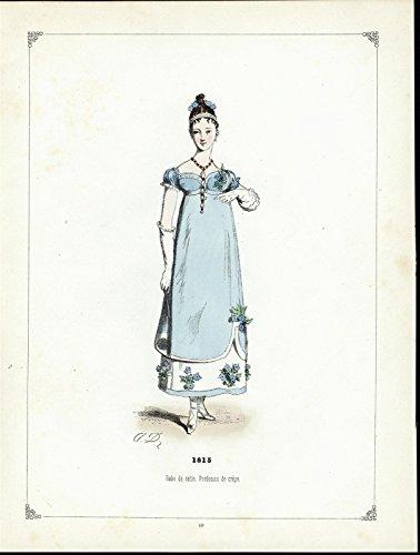 (Flowered Satin Dress ca. 1860 beautiful antique hand color ethnic costume print )