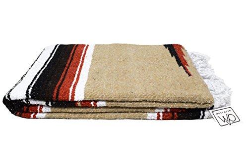 (Tan/Khaki Mexican Yoga Blanket - Thick Navajo Diamond Serape with Orange and Brown Stripes)