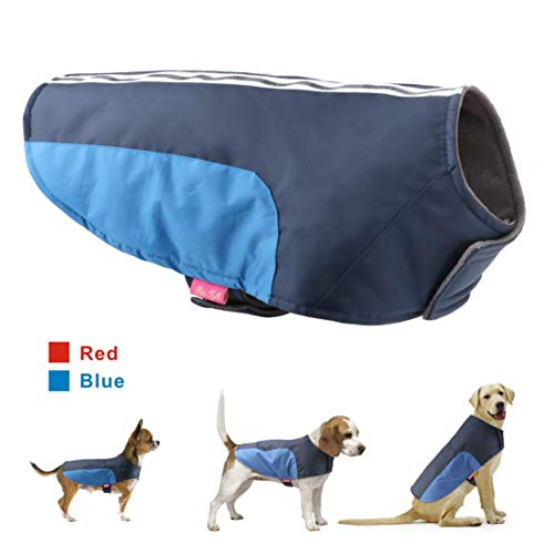 (Idepet Dog Pet Winter Coat Warm Vest Clothes Apparel Doggy Puppy Cold Weather Jacket Hoodie for Small Medium Large Dogs Cats (S, Blue) )
