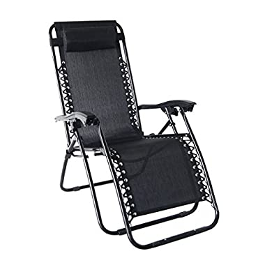 Odaof Zero Gravity Recliner Lounge Patio Pool Chair, Black