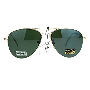 SA106 Air Force Luxury Half Rim Police Style Aviator Sunglasses Gold Green