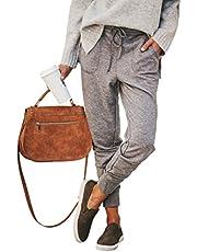 ECOWISH Damen Hosen Elastischer Bund Jogginghose Tunnelzug Sporthose Casual Sweathose Freizeithose mit Taschen Hellgrau M