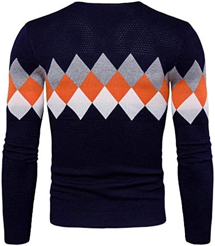HX fashion męski sweter z długim rękawem sweter casual okrągły dekolt nadruk wygodny rozmiar wycięcie Knit sweter z dzianiny sweter ubranie: Odzież