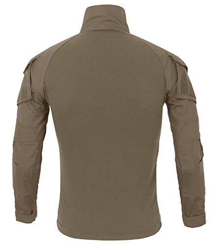 KEFITEVD Chemise de Combat Homme Chemise Camouflage Militaire Tactique T-Shirt Slim Fit Chemise à Manches Longues 3