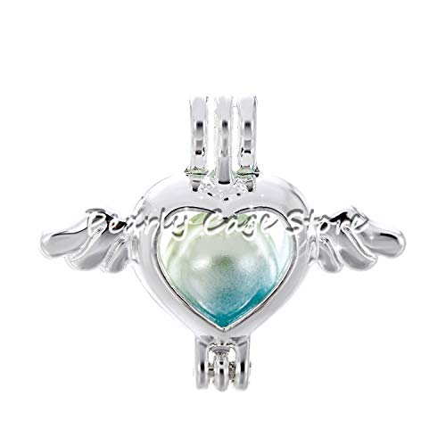 (1pc Silver Dragon Carriage Elephant Heart Pearl Cage Bead Cage Essential Oil Diffuser Locket Pendant Jewelry Making Oyster Pearl)