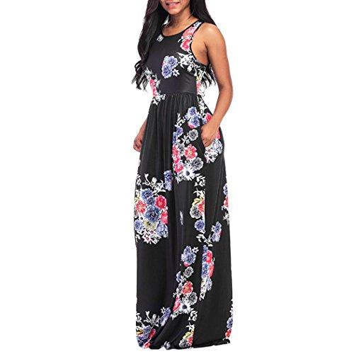 Maxi Women's Casual Clearance Long Floral Print Racerback Dress Boho Dress Black On Sleeveless Summer Tunic Pocket TxSwx