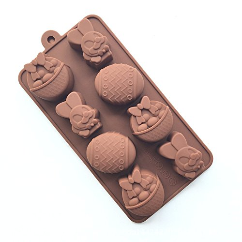Always Your Chef Chocolate Making Molds 6-Cavity Silicone Candy Making Molds/Ice Cube Trays, Great Molds for Making Jello/MINI Cupcake,Rabbit/Fruit Basket Shaped, Random Color