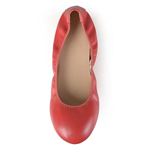 ... Journee Samling Kvinners Fleksible Scrunch Ballerina Røde ...