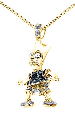 Round Cut Cubic Zirconia Bart Simpson Hip Hop Pendant in 14K Yellow Gold Over Sterling Silver (0.75 Cttw) by AFFY