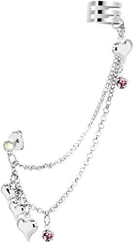 Pink Aurora Hearts Ear Cuff Chain Post Earring