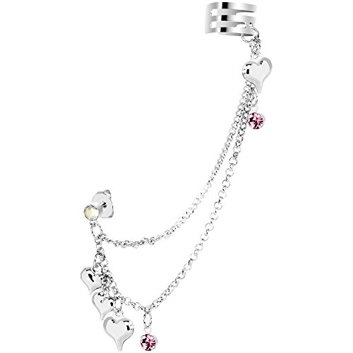 Body Candy Pink Hearts Ear Cuff Chain Post Earring