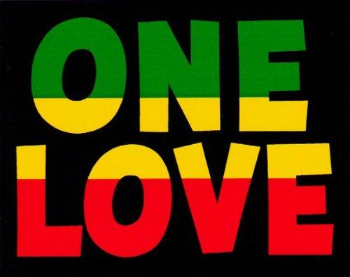 One Love with Rasta - Reggae Colors - Small Bumper Sticker / Decal (4