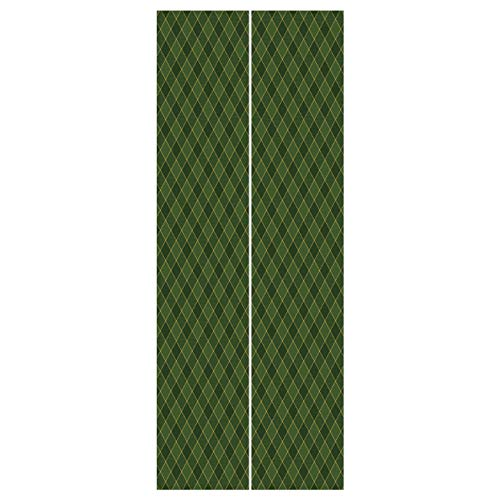 (3d Door Wall Mural Wallpaper Stickers [ Green,Traditional Old Fashioned Argyle Pattern Retro Style Plaid,Hunter Green Forest Green Yellow ] Mural Door Wall Stickers Wallpaper Mural DIY Home Decor)
